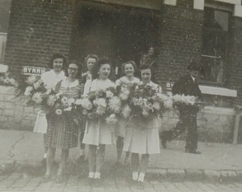French Vintage Photo - Group of Girls with a Large Flower Arrangement