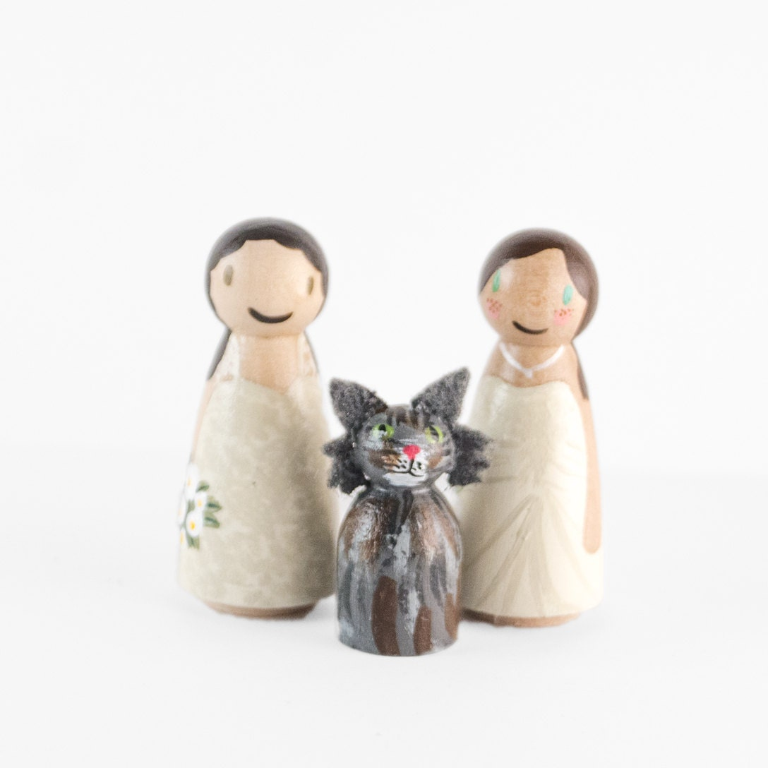 Lesbian Wedding Cake Topper with cat wedding cake topper