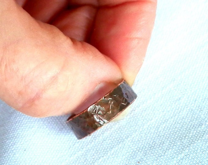 Tree Bark Texture, 5mm Wide, Copper Ring, Ring for Woman or Man, Rustic Wedding Ring, Gift for Him, Guys Ring, Unisex Ring