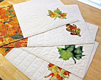 Quilted Placemats, Autumn Placemats, Fall Placemats, Leaf Placemats, Autumn Decor, Fall Decor, Thanksgiving Placemats