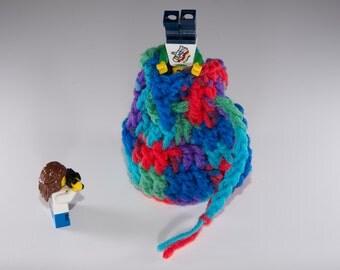 Coin Bag - Heartfelt - Money Dice Token Medicine Bag - Drawstring - Blue Green Red Purple Turquoise Multi Colour Color