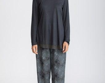 Women oversized shirt, grey tunic , women gray top, Cotton Blouse, Gray Shirt, Long Sleeve Blouse,