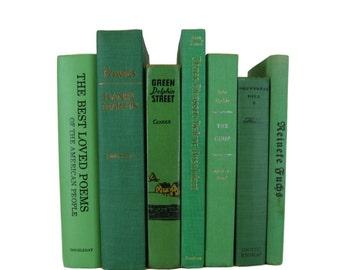 Green Home Decor, Vintage  Books, Wedding Decor,  Used  Books, decorative books, old books, library decor, stack of books, Bookshelf Decor