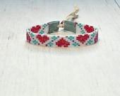 Seed Bead Heart Bracelet - Beaded Bracelet - Flower Bracelet - Valentine's Day Bracelet - Adjustable Bracelet - Loom Bracelet