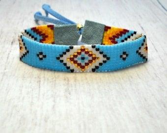 Beaded Bracelet - Indian Bead Loom Bracelet - Bead Loom Bracelet - Native American Bracelet - Unisex Bracelet - Seed Bead Bracelet