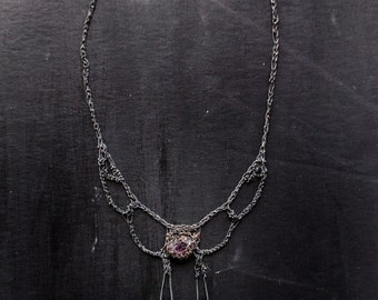 pink tourmaline butterfly tail necklace