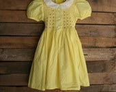 Vintage Little Girls Yellow Gingham Smocked Dress with Flowers by Fairy's