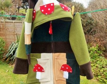 TOADSTOOL Wizard Jacket, KIDS Fleece Hoodie, Pixie, Elf, Fae, Fairy, Festival, Patchwork, Stripey, Hippy