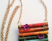 RESERVED FOR VICKI - Paper Bead Rainbow Pendant Necklace on Sari Silk Ribbon
