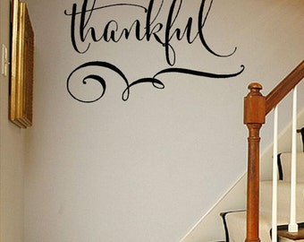 Thankful - faith Vinyl Lettering wall decals words decal family blessed bedroom custom graphics decals bedroom Home decor itswritteninvinyl