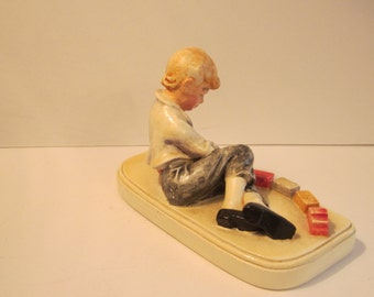 Sebastian Ceramic of Boy Playing with Trains - Switching the Freight 6236 - P W Baston Miniature Sculpture