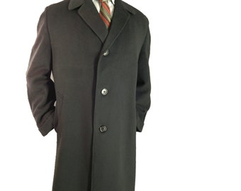 Mens Vintage 1960s Alpacuna Topcoat Black Alpaca Mohair Wool Overcoat. 47 inch chest.  42