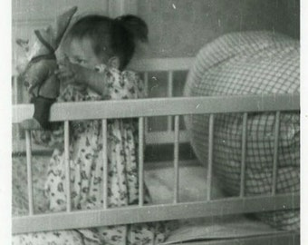 "Vintage Photo ""She Should Be Napping"" Child Girl Children Play Toy Crib Bedroom Childhood Old Black & White Photograph Paper Ephemera - 86"