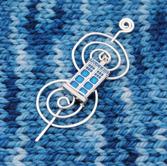 Tardis Shawl Pin or Scarf Pin Inspired by Doctor Who