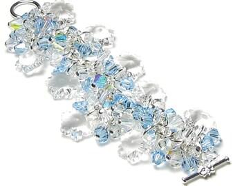 Swarovski Crystal Snowflake Bracelet Clear Crystal Aqua Aquamarine Frozen Ice Snow Jewelry Sisters March Birthstone Birthday Gift For Women