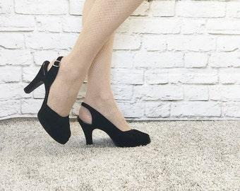 Vintage 40s Black Velvet Beaded Platform Peeptoe Slingback Heels Shoes Pumps 8 B QualiCraft