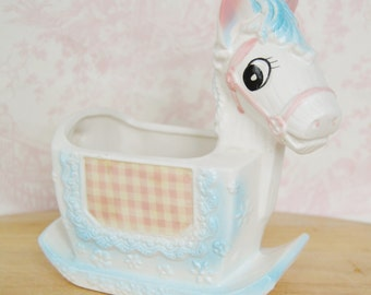 Vintage Rocking Horse Planter with Pink Gingham Fabric Sides