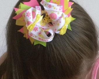 "Ladybug Hair Bow 4.5"" White, Pink and Green Ladybug Print Ribbon Bow, Ribbon Spikes, Yellow Satin Mini Bows with Yellow Ladybug Center"