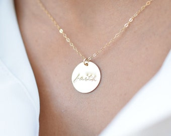 Faith Necklace • Sterling Silver or Yellow Gold Filled Hand Stamped Disc Pendant Charm • Christian Jewelry • Baptism Gift