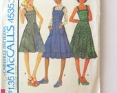 1970s Dress Pattern McCalls 4535 Womens Sleeveless Fit and Flare Jumper or Sundress Sewing Pattern Misses Size 14 Bust 36