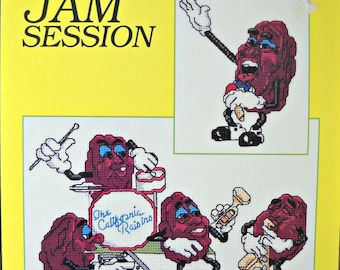 The California Raisins Jam Session Cross Stitch Leaflet 5, by Just Cross Stitch, Vintage 1988