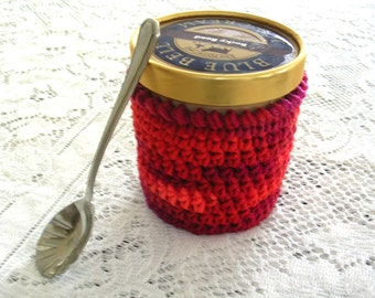 Chili Red Ice Cream Cozy - Handmade Crochet Ice Cream Holder - Pint Ice Cream Sleeve - Pint Size Cozy Cover - Cottage Decor