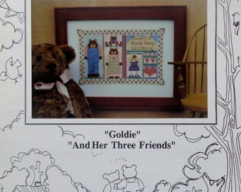 Cross Stitch Pattern GOLDIE And Her THREE FRIENDS Goldilocks & The Three Bears By Mosey 'N Me