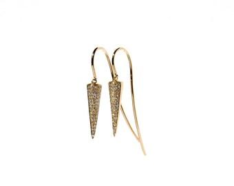 14k Micro Pave Diamond Spike Hook Through Earrings