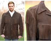 mens leather fringe coat, fringe jacket, sueded leather, dark brown, JO-O Kay, retro, cowboy cool, 1960s, 1970s, mens 44, great condition