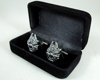 Star Wars Millennium Falcon Silver  Cufflink Set, Gift Box Mens Accessories Handmade