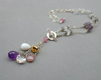 Purple Amethyst Necklace - Y Necklace with Pink Sapphire, Snow Agate, Rock Crystal, Pyrite, Labradorite and Sterling Silver Chain