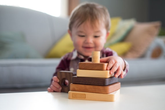 wooden STACKING TOY - personalized heirloom wood stacker with homegrown organic finish, montessori learning ideal for size, pattern, color