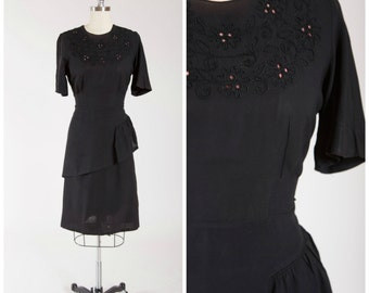 Vintage 1940s Dress • Love Astray • Black Rayon 40s Vintage Evening Dress with Soutache Eyelet Details Size Large