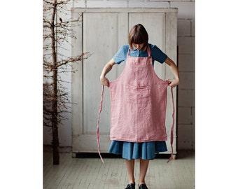 Linen Apron, Pink Apron, Chef Apron, Traditional Apron, Cooking Apron, Kitchen Apron, Cleaning Apron, Apron Dress, Women Apron
