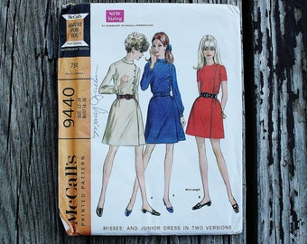 McCall 9440 1960s 60s Asymmetrical Shirt Dress Vintage Sewing Pattern Size 12-14 Bust 34-36