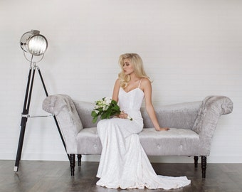 Rue Wedding Dress// Fit and Flare Multi Sequin Wedding Dress//Illusion Back