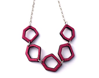 Hot Pink Necklace - Hot Pink Hexagon Necklace - Honeycomb Jewelry - Modern Geometric Necklace - Faux Wood Beaded Necklace - Unique Necklace
