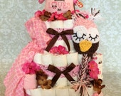 Baby Girl Owl 3 tier Diaper cake - an adorable diaper baby shower gift - made to order