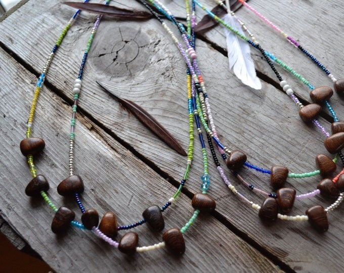 coconut wood and seed bead necklace, friendship jewelry, pennant flag necklace, hand beaded bohemian jewelry, summer birthday gifts for her