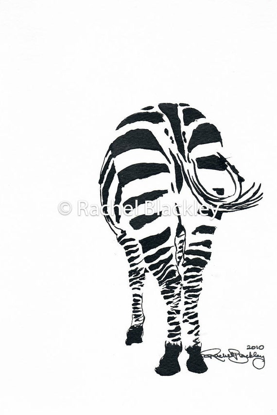 Zebra Butt Ink Sketch Ink Drawing Pen and Ink Black and