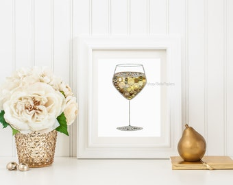 White Wine Button Pictures | Kitchen Decorations | Chardonnay Art | Wine Glass Decorations | Decorated Wine Glasses | Swarovski White Wine