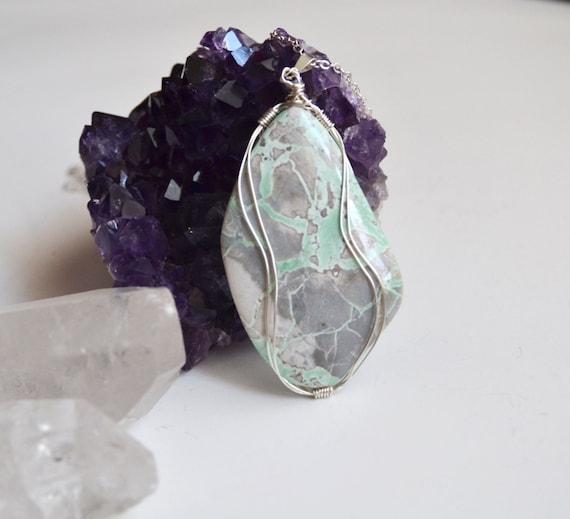 Variscite Necklace Pendant, Mint Stone Necklace, Wire Wrapped Variscite, Statement Necklace, Variscite Cab, Stone with Matrix, Variscite