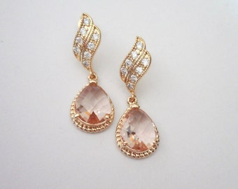 Gold earrings - Champagne - Bridal jewelry - Bridesmaids - Gold over sterling wave posts - Braided frame teardrops - OUTSTANDING -