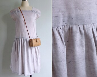 Vintage 80's Does 20's Lawn Party Lilac Dropwaist Dress XS or S