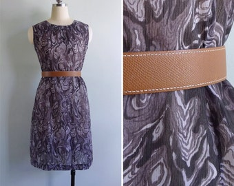 15% SALE (Code In Shop) - Vintage 60's Faux Bois Wood Grain Print Shift Dress M or L