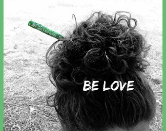 I am Loved Anahata Hair Stick Empowerment Hair Stick Green Reiki Hair Stick Chinese Bun Custom Hair Stick  Etchythings and Accents - Sale