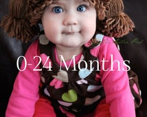 Cabbage Patch Kid Inspired Crochet Hat - Wig - For Baby Sizes 0-24 MONTHS - Beanie Hat - Doll Costume Wig - Custom Made to order