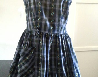 Blue plaid summer dress vintage 50s 60s