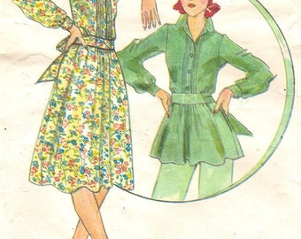 Front Tuck Dress or Top Sz 12 Vintage 1970s Pattern