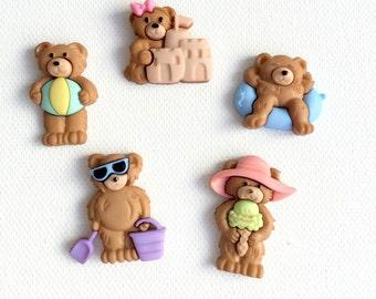 Bear Magnets, Bears at the Beach Magnets, Summer Bear Magnets, Fridge Magnets, Office Decor